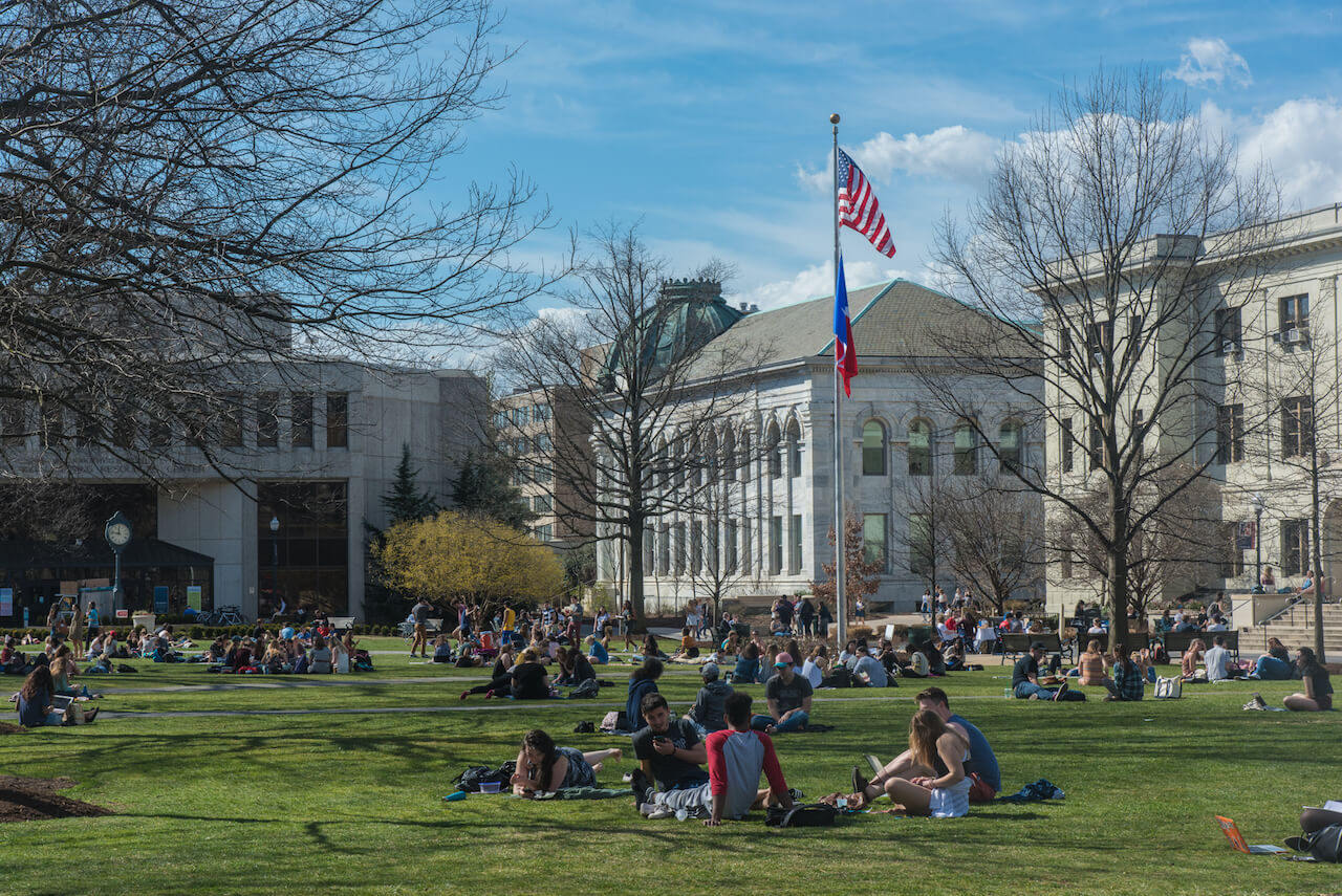 Students on the quad lawn